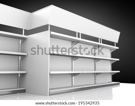 set of mall shelves in perspective on black background
