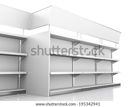 set of mall shelves in perspective on white
