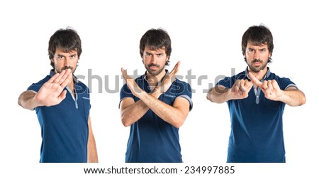 Set of Man doing NO gesture over white background - stock photo