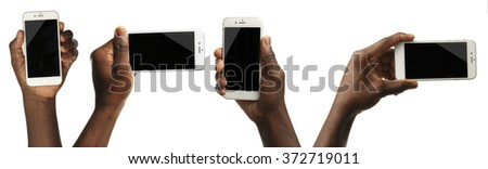 Set of man hands holding smart phone in different ways, isolated on white - stock photo