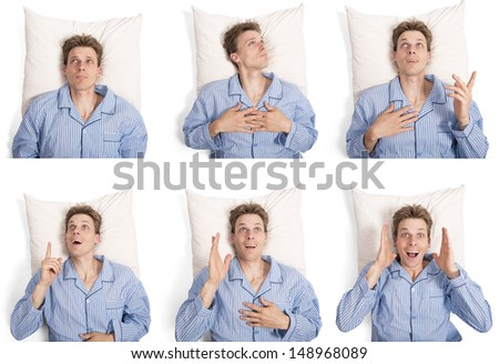 set of man in pajamas on his pillow showing different expressions - stock photo