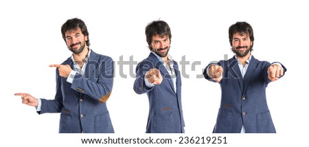 Set of Man pointing to the front over white background - stock photo