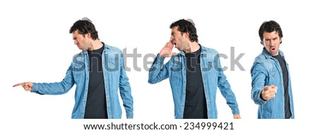 Set of Man shouting over isolated white background