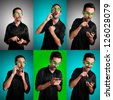 set of man with black shirt on the phone on colorful background - stock photo