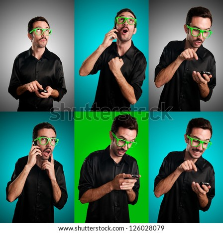 set of man with black shirt on the phone on colorful background
