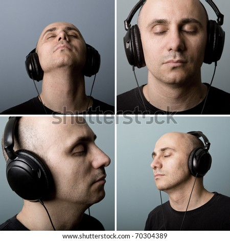 Set of Man with ear-phones. Intimate portrait. - stock photo