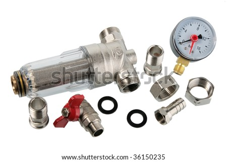 Set of manometer and water filter. Close-up. Isolated on white background. - stock photo