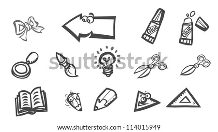 Set of manual training Symbols. Outline version. - stock photo
