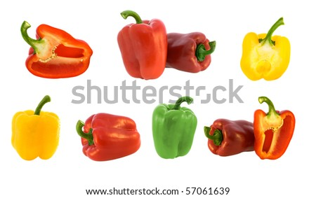 set of many bell peppers on white - stock photo