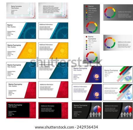 Set many different business card layouts stock illustration set of many different business card layouts in one file offers multiple choices of interesting color colourmoves