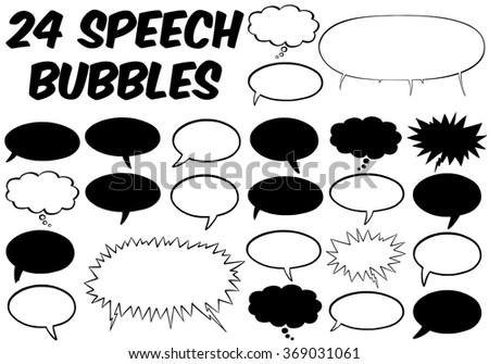 Set of many different comic speech bubbles in black and white