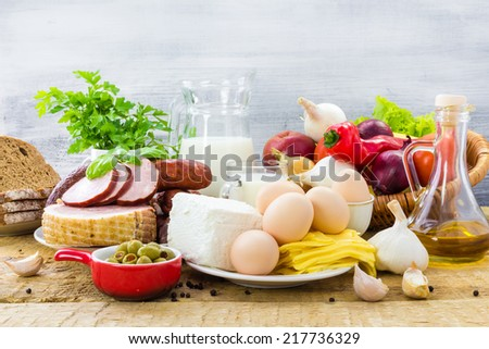 Set of many different foods - healthy diet - stock photo