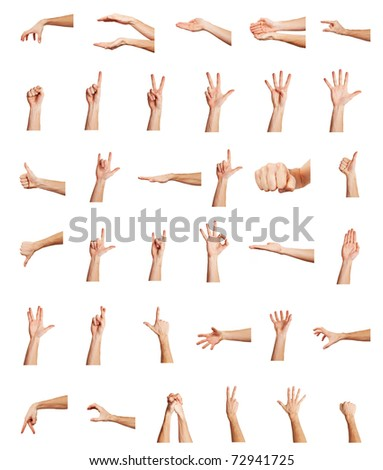 Set of many different man's hands isolated over white background