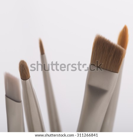 Set of many different professional soft make-up small brushes for eyeshadow for visagistes grey and brown colors on white background, square picture - stock photo