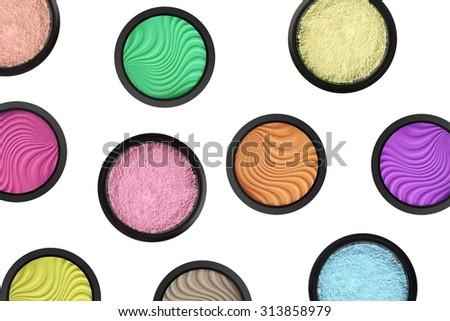 set of many eyeshadows and isolated on white background - stock photo