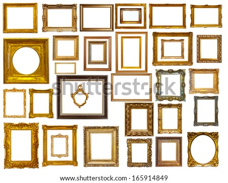 set of many gold frames isolated over white background may be used for photo
