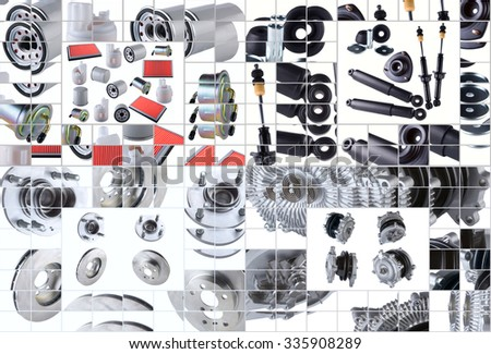 Set of many images of spare parts aftermarket with new spare parts.