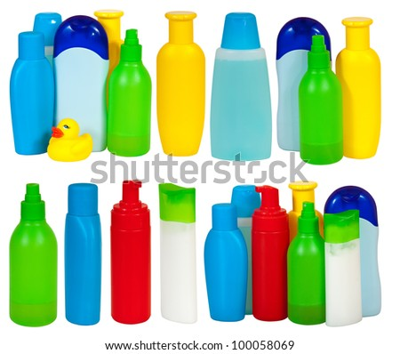 Set of  many toiletries bottle . Isolated on white backgrounds with clipping path