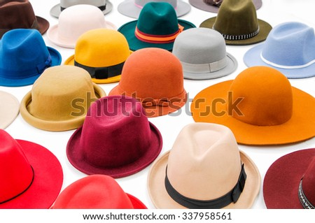 Set of many woman hat isolated  - stock photo