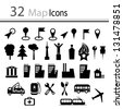 Set of 32 Map Icons - stock vector