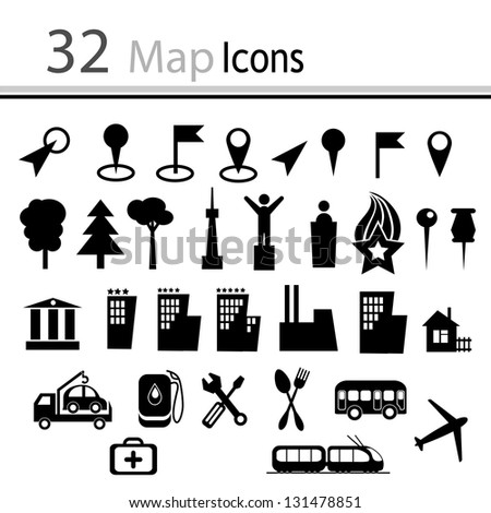 Set of 32 Map Icons - stock photo