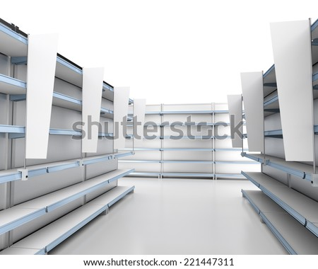 set of market shelves with flags or shelf-stoppers - stock photo