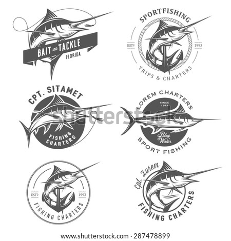 Set of marlin fishing emblems, badges and design elements - stock photo