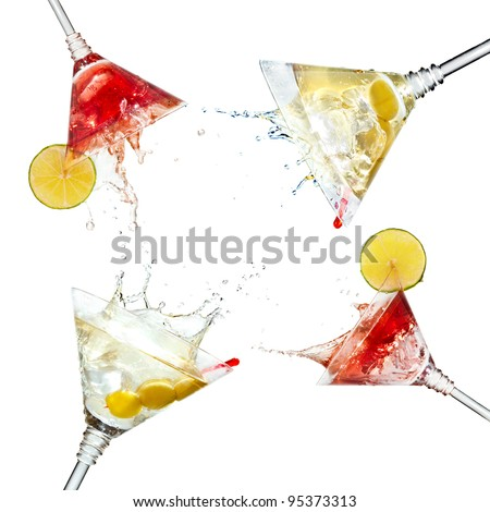 Set of martini cocktails with splash and lime isolated on white - stock photo