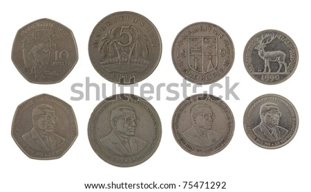 Set of Mauritian Rupee coins isolated on white