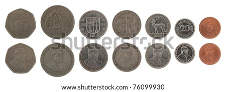 Set of Mauritian Rupee coins isolated on white - stock photo