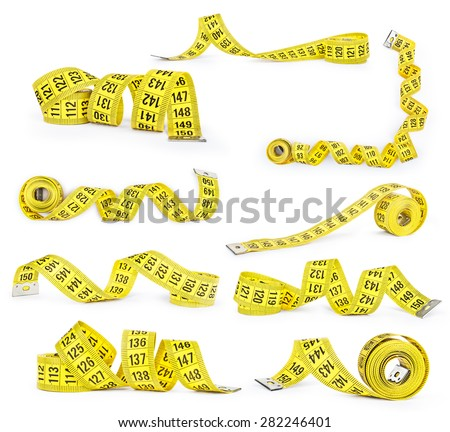Set of measuring tapes isolated on white background - stock photo