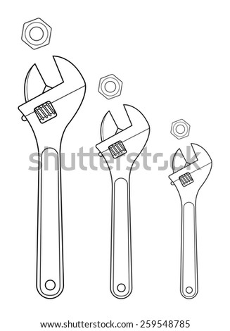 Set of mechanical wrenches with nuts. Black, yellow colors. Raster clip art contour lines illustration isolated on white - stock photo