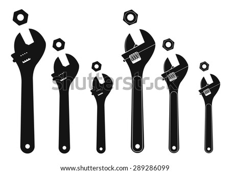 Set of mechanical wrenches with nuts. Raster silhouettes clip art illustration isolated on white - stock photo