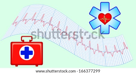 Set of medical aid elements - stock photo