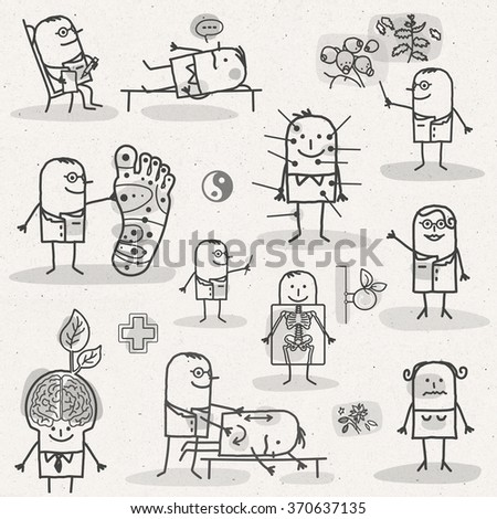 set of medical black and white cartoons - PARAMEDIC AND ALTERNATIVE - stock photo