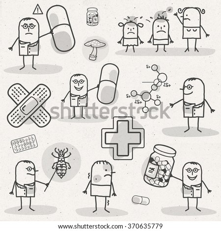 set of medical black and white cartoons - PHARMACEUTICALS - stock photo