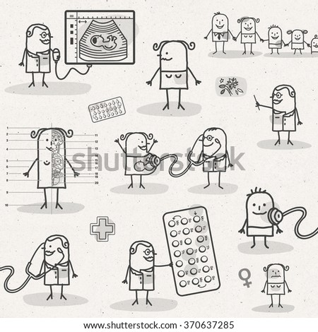 set of medical black and white cartoons - WOMEN AND OBSTETRICS - stock photo