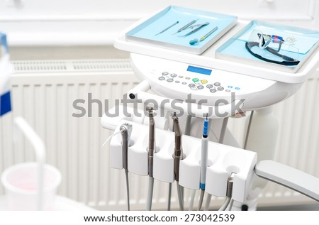 Set of medical equipment for dental care - stock photo
