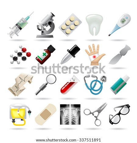 Set of medical icons and tools - stock photo