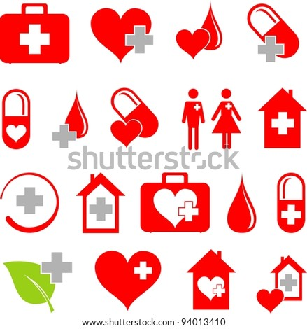 Set of medical icons isolated on White background.  illustration - stock photo