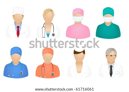 Set Of Medical People Icons, Isolated On White - stock photo