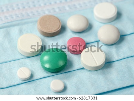 Set of Medical pills  and mask
