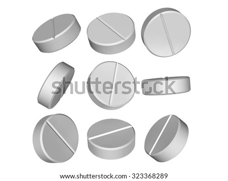 Set of medical pills in 3D isolated on a white background - stock photo