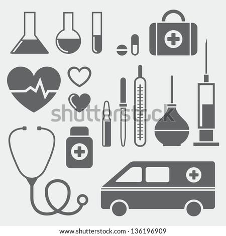 Set of medical symbols - stock photo