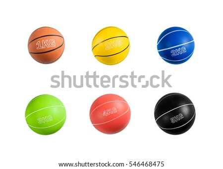 Set of medicine balls of various weights for fitness, muscle building, rehabilitation and games. Sport equipment isolated on white background