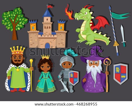Set of medieval fairy tale element icons. Raster copy.