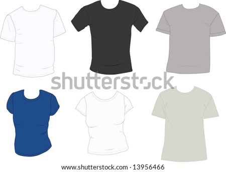 Set of men's and women's blank tee-shirts ready to add your designs - stock photo