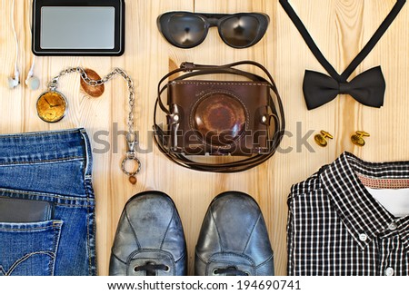 Set of men's clothing and accessories. Hipster concept - stock photo