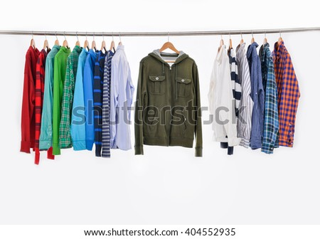 Set of men's different colors sleeved plaid cotton on wooden hanger - stock photo