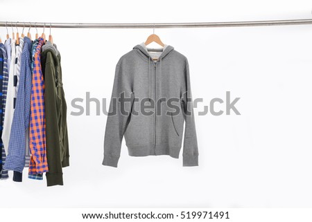 Set of men's different colors sleeved plaid cotton with ,jacket coat on wooden hanger